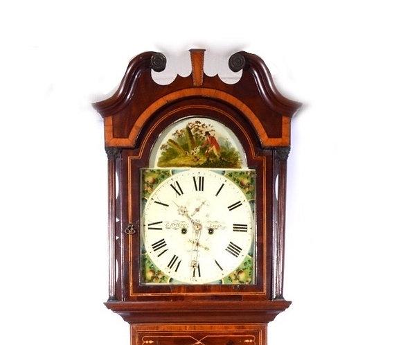 19th Century flame mahogany longcase clock, signed G. K. Hirst, Leeds