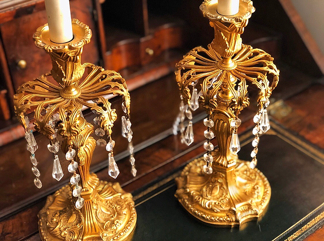 Fine pair of 19th Century Ormolu Candlestick Lustres