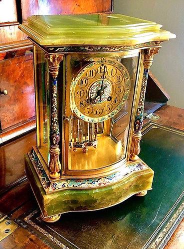 Cloisonné four glass mantel clock by Japy Freres