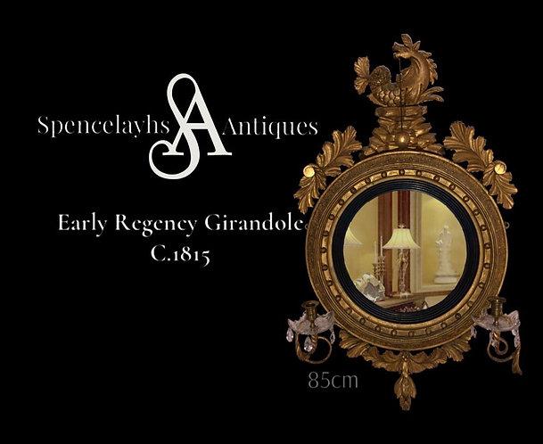 Early Regency Girandole Convex Mirror Hippocampus