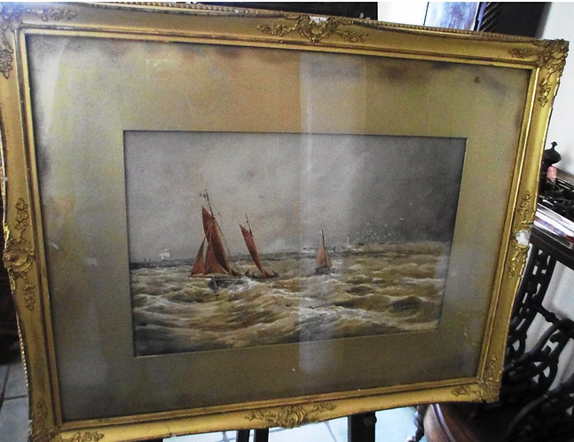 THOMAS BUSH HARDY WATER COLOUR OF BOATS ETC