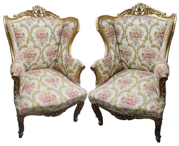 Pair of Giltwood Wingback Chairs