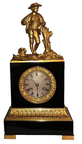 Charles X Noir Marble and Ormolu Mounted Mantel Empire Clock Circa 1827 - 1830