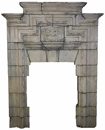 Huge Antique Hand Carved Stone Fireplace from a Demolished English Castle