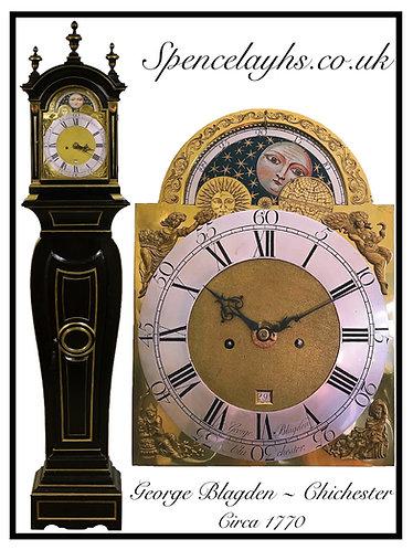 Ebonised & Brass 8 Day Longcase Clock in The Form of a Bracket Clock on Pedestal