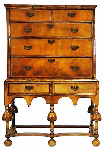 William & Mary Walnut Chest on Stand