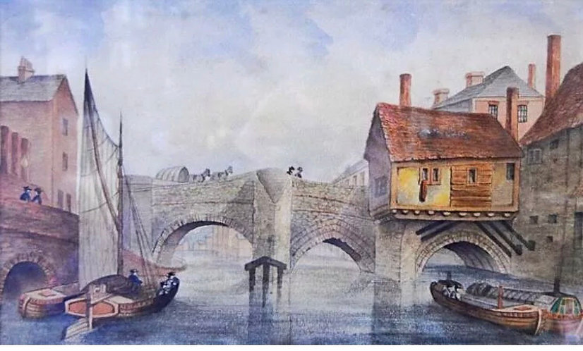 Watercolour Painting Old West Bridge Leicester Greene After J.F.Lee Signed 1878