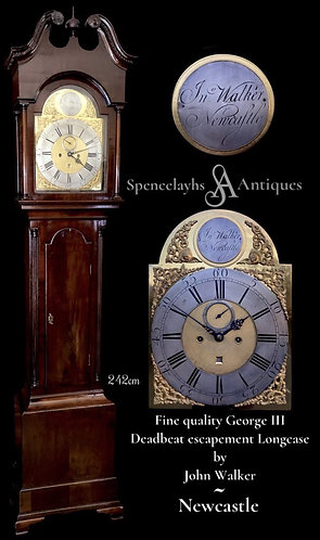George III Deadbeat Longcase Clock by John Walker of Newcastle