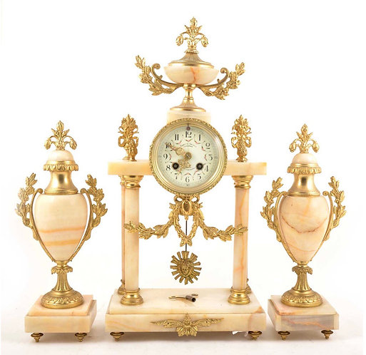 Very Large French Onyx Portico Clock Garniture