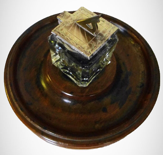 A rare hand engraved Sundial top Georgian Inkwell on circular Fruitwood base