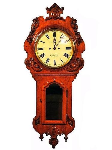 19th Century Twin Fusee Oak Drop Dial Wall Clock Charles of Thorneloe Lichfield