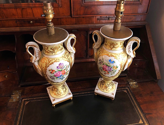 Pair of hand painted Limoges vase lamps