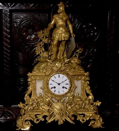 Gilt Bronze Empire Mantel Clock by Henri Marc Paris