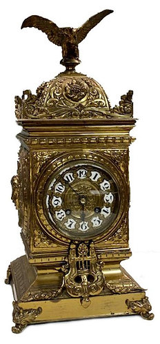 French Brass Cast 8 Day Mantel Clock