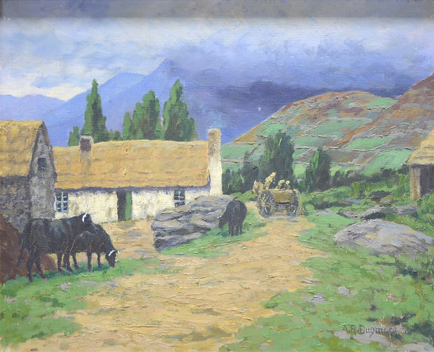 "R Dugmore ""A Kerry Cottage"" Signed Oil on canvas"