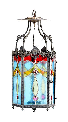 Late 19th Century Stained Glass Hall Lantern