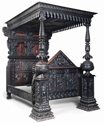 17th Century Oak Full Tester Bed