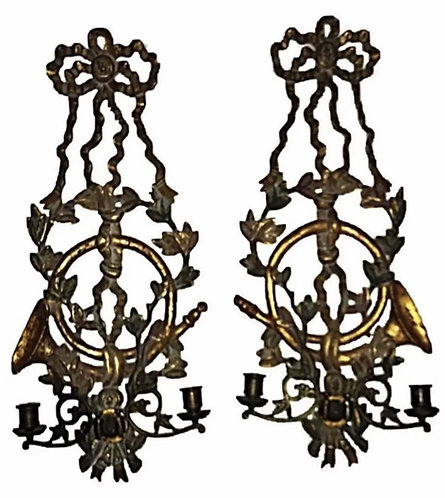 Pair19th Century Carved Girandole candlesticks  Wall Sconces Ex Luddington Manor