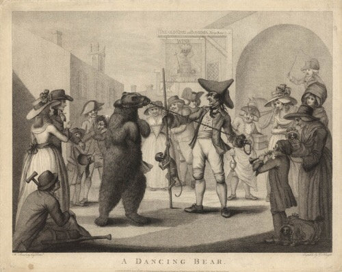 A Dancing Bear Stipple engraving by C knight/ Henry William Bunbury