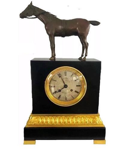Charles X Ormolu and Bronze Equestrian Horse Mantel Clock Cheri Vallet Paris