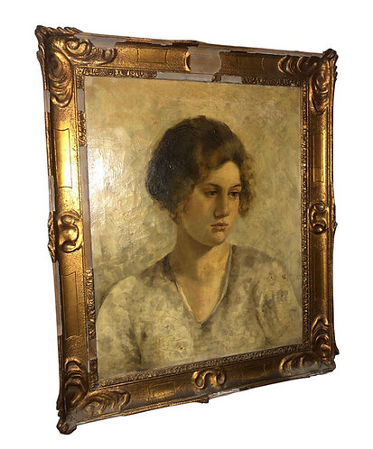 Early 20th Century Oil On Canvas Portrait Painting C.1915-20