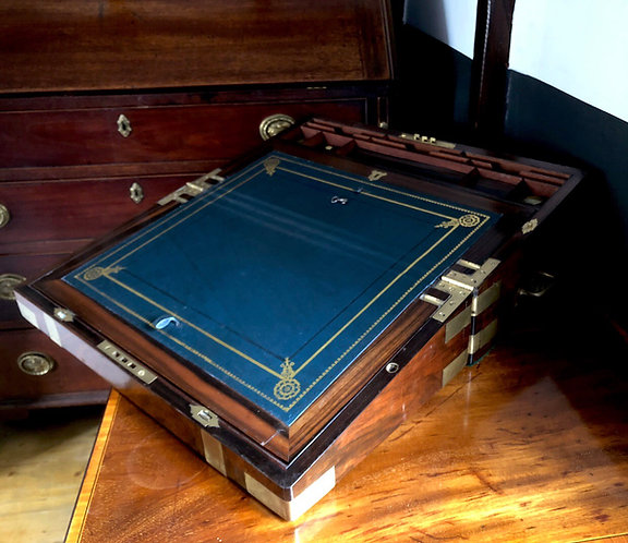 Fine Walnut & Rosewood 19th Century Military Campaign Writing Slope