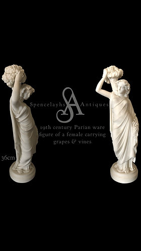 19th Century Parian Ware figure o a Female carrying Grapes & Vines