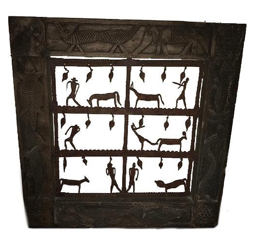 Jali  hardwood window with iron decoration
