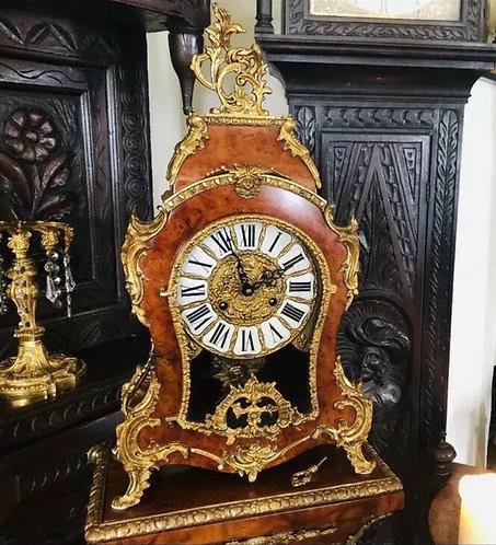 Gilt Mounted 20th Century Walnut Veneered Bracket Clock on Pedestal Franz Hermle