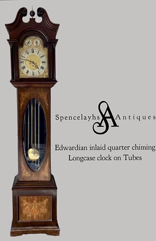 Edwardian Inlaid Longcase Clock on Tubes by Junghans