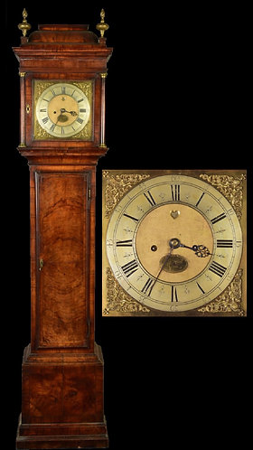Early 18th Century Walnut Caddy Top Longcase Clock by John Knibb of Oxon