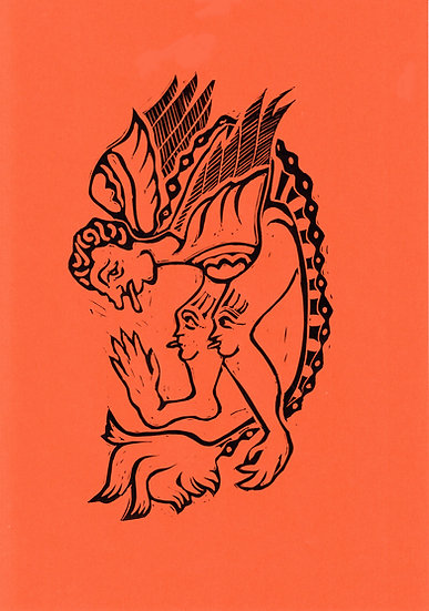 Tessa Lynch / Beast, orange / Lino print