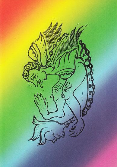 Tessa Lynch / Beast, rainbow / Lino print