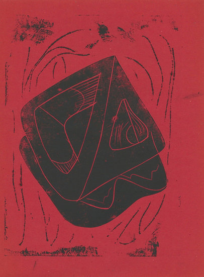 Tessa Lynch / Yoghurt, found in the field of misogyny, red / Lino Print