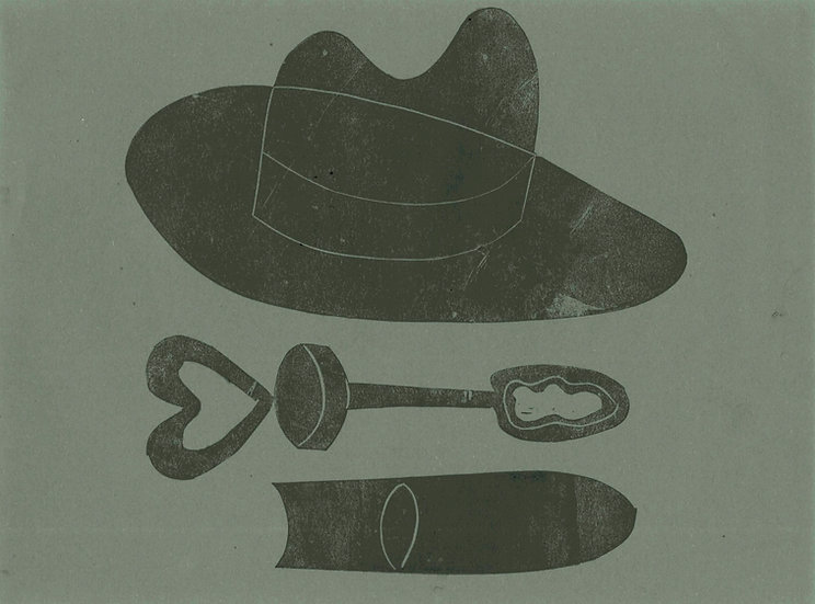 Tessa Lynch / Hat and bubbles, found in the field of misogyny / Lino Print