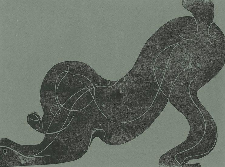 Tessa Lynch / Down Dog, found in the field of misogyny / Lino Print