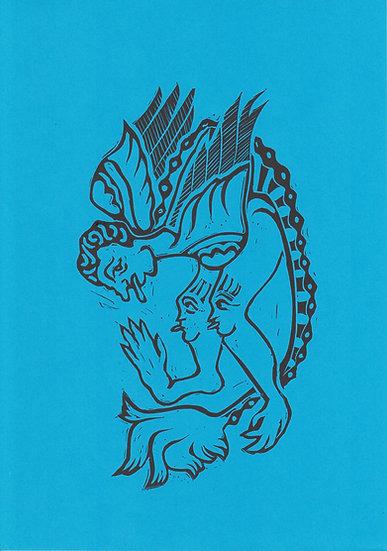 Tessa Lynch / Beast, blue / Lino print
