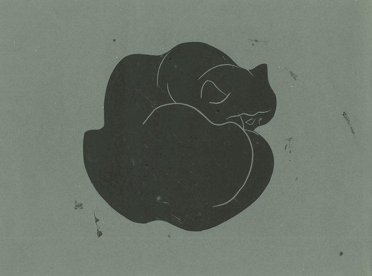 Tessa Lynch / Cat, found in the field of misogyny / Lino Print