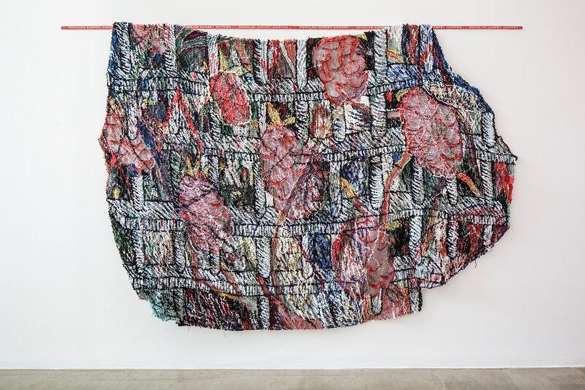Raspberry-Jail, 2020, Tufted yarn on clo