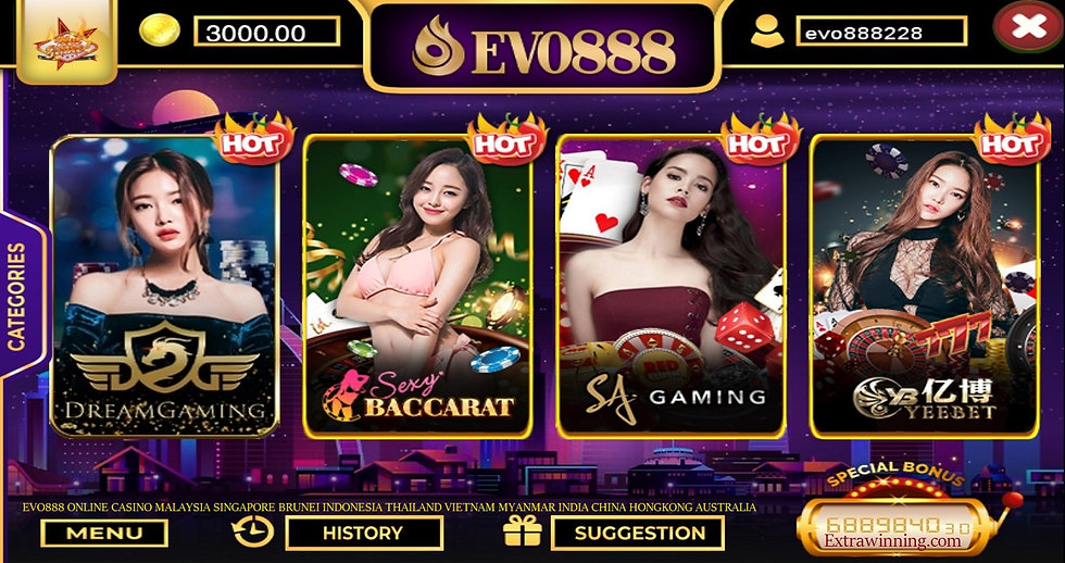 evo888 online casino malaysia singapore brunei indonesia thailand vietnam india china myanmar hongkong australia