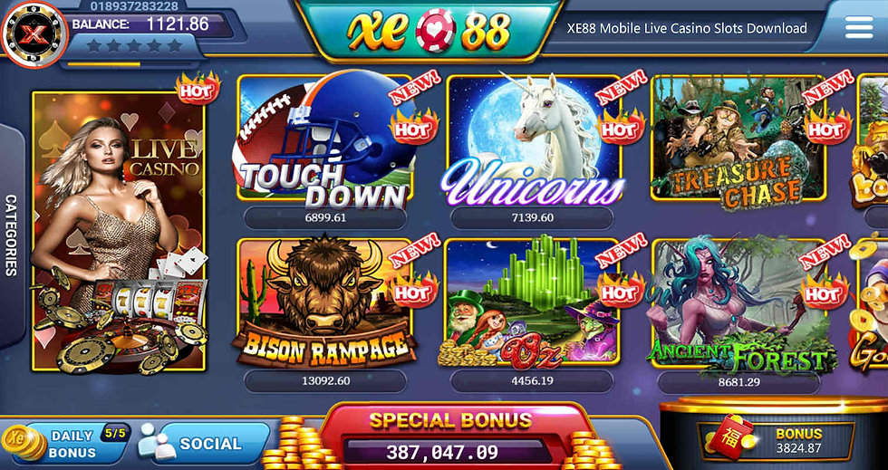 xe88 mobile slot games live casino agent kiosk android ios iphone