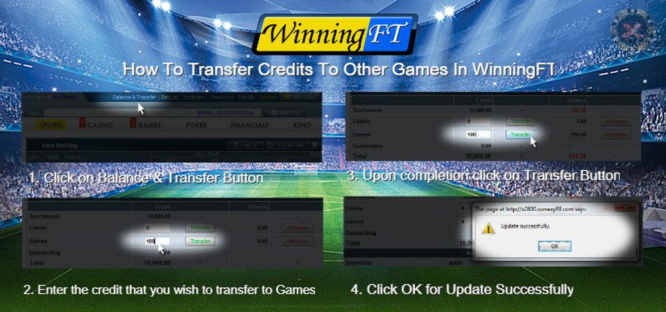 Winningft transfer credits online casino