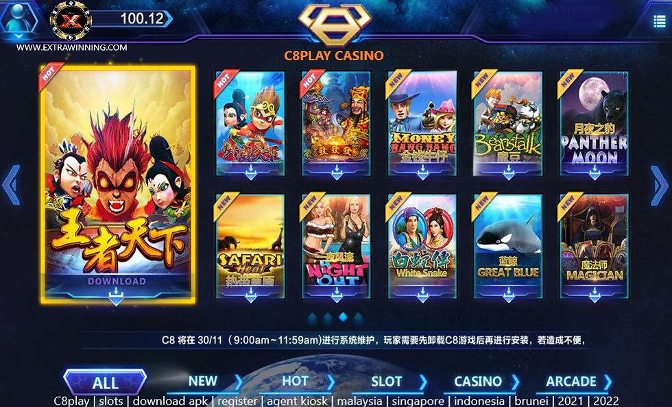 c8play, slots, download apk, register, agent kiosk, malaysia, singapore, brunei, indonesia, 2021, 2022