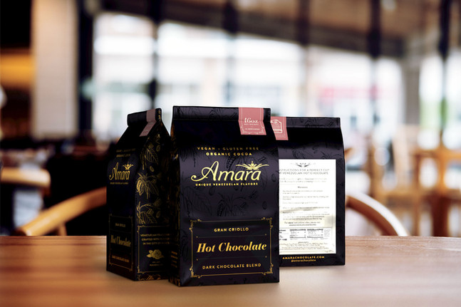 Amara New Packaging + Menu, Branding Refresh