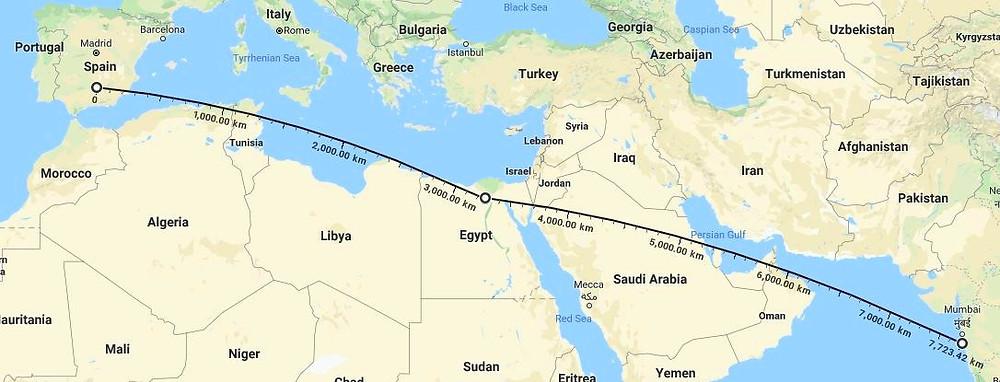 Mapa mundi e o caminho para a Índia