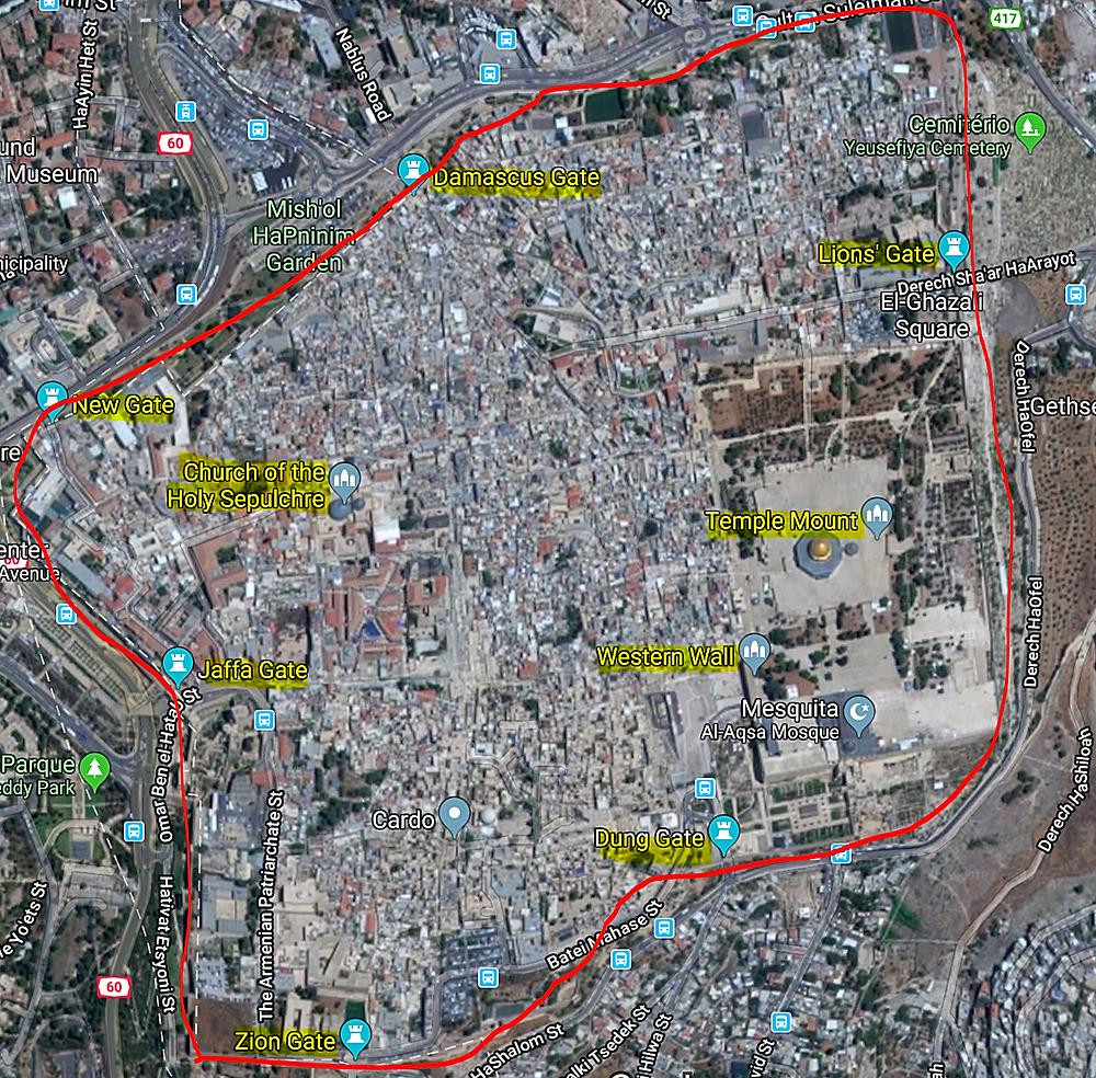 Mapa de jerusalém e os portões da cidade