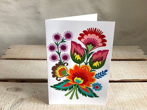 Folk art floral card No.2