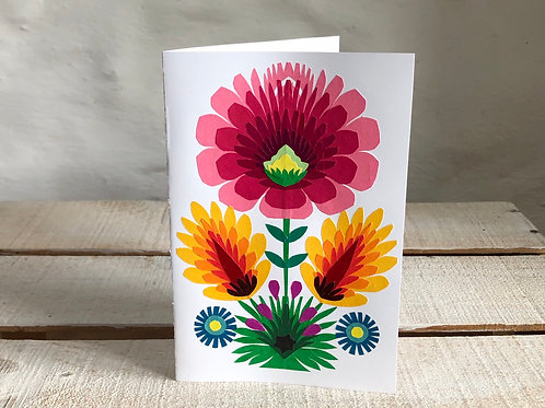 Folk art pink flower card No.2