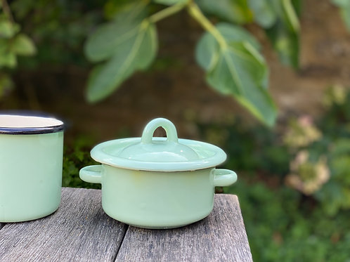 Little pale green enamel pot