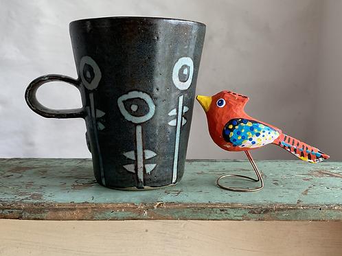 Orange wooden bird